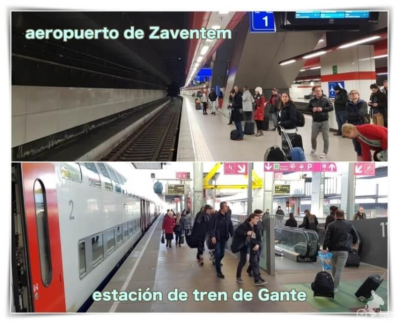 tren del aeropuerto de Zaventem a Gante