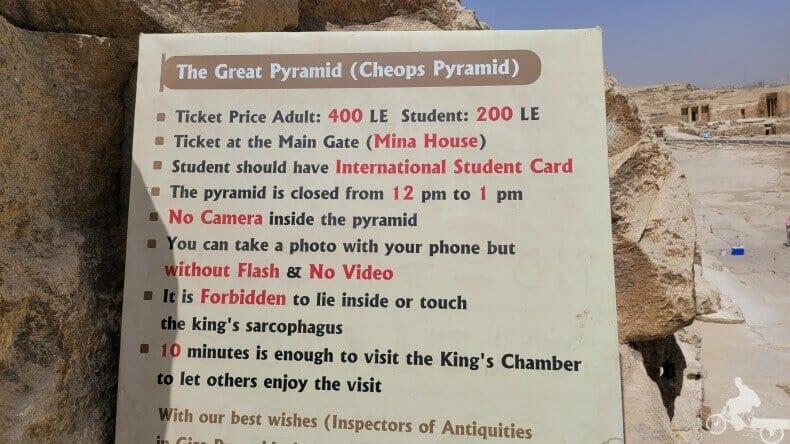 reglas para la visita de las pirámides de Egipto