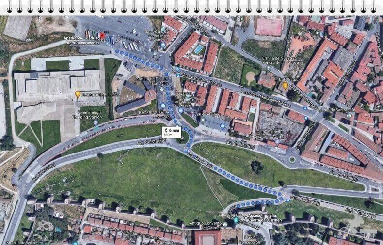 del parking a Ávila a pie